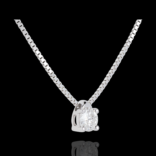 Collier solitaire or blanc 18 carats - 0.2 carat