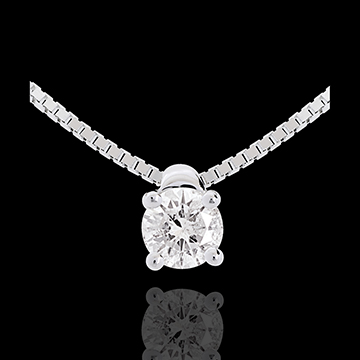 Collier solitaire or blanc 18 carats - 0.21 carat