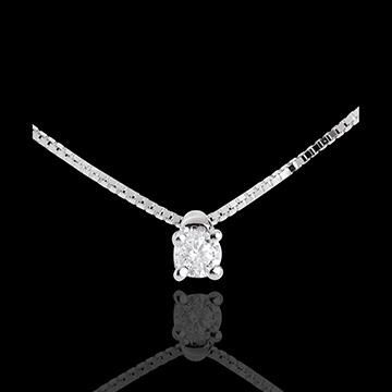 Collier solitaire or blanc 9 carats - diamant 0.07 carat - 45cm