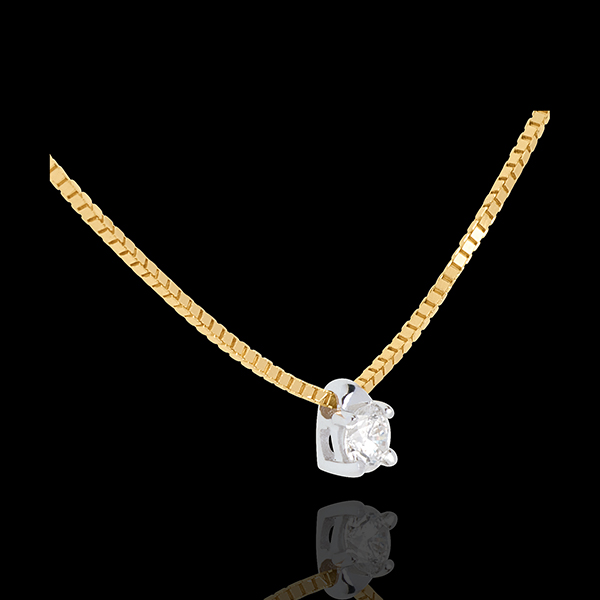 Collier solitaire or jaune 18 carats - 0.11 carat