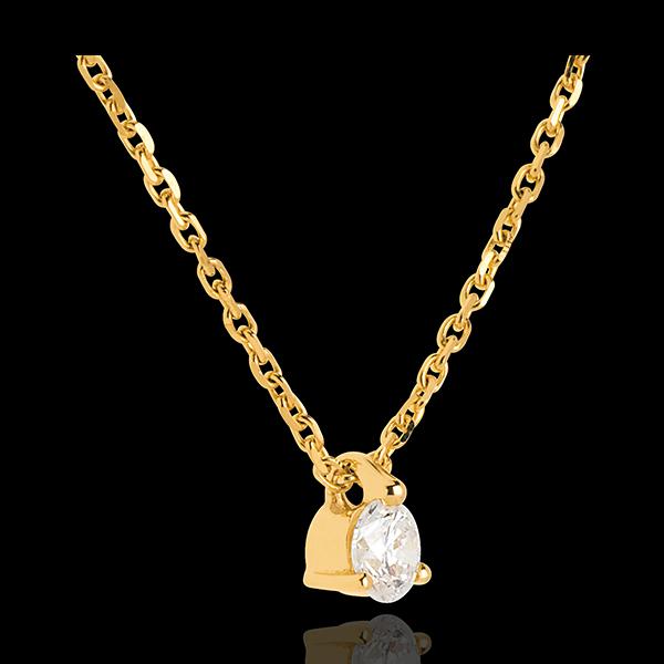Collier solitaire or jaune 18 carats - 0.16 carat