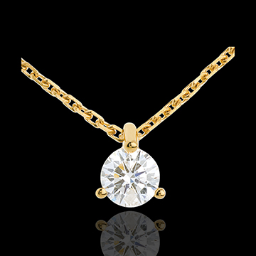 Collier solitaire or jaune 18 carats - 0.26 carat