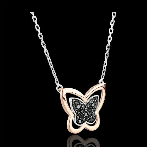 Collier Spaziergang der Sinne - Nachtwandelnder Schmetterling - Roségold und schwarze Diamanten