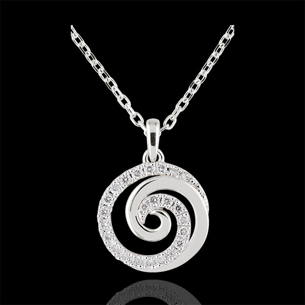 Collier Spirale d'amour or blanc 9 carats