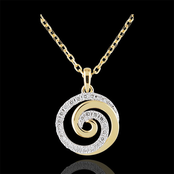 Collier Spirale d'amour or blanc et or jaune 9 carats