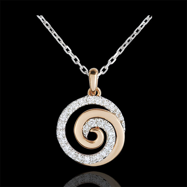 Collier Spirale d'amour or blanc et or rose 9 carats