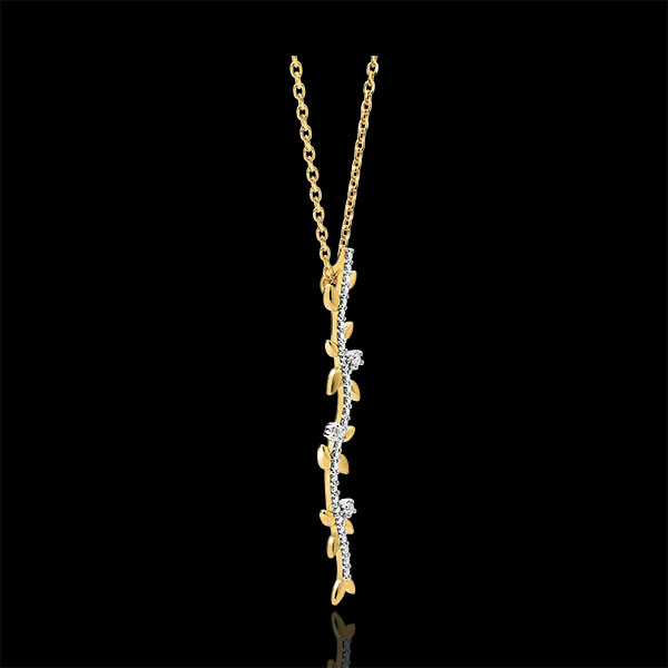 Collier tige Jardin Enchanté - Feuillage Royal - or jaune 18 carats et diamants