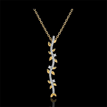 Collier tige Jardin Enchanté - Feuillage Royal - or jaune 9 carats et diamants