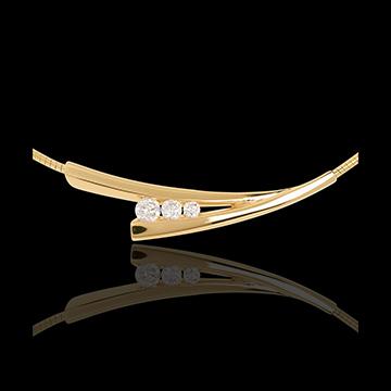 Collier trilogie épis or jaune 18 carats - 0.21 carats - 3 diamants