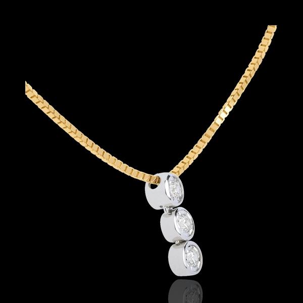 Collier Trilogie Filante - 3 diamants - or blanc et or jaune 18 carats