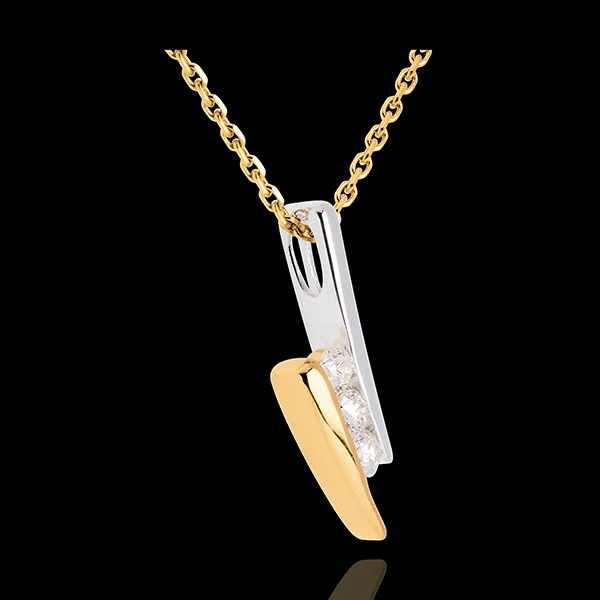 Collier trilogie Nid Précieux - Citation - 3 diamants - or blanc et or jaune 18 carats