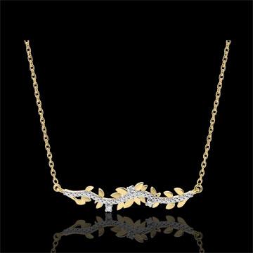 Collier Verzauberter Garten - Königliches Blattwerk - Gelbgold und Diamanten - 18 Karat