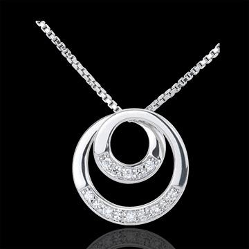 Collier Zephir or blanc 9 carats et diamant - 45cm