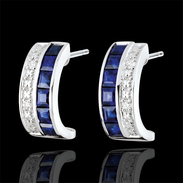 Constellation hoop earrings - Zodiac - blue sapphires and diamonds - 18 carat white gold