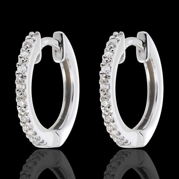 Creole Aur Alb semi pavat - 16 diamante - aur alb de 18K