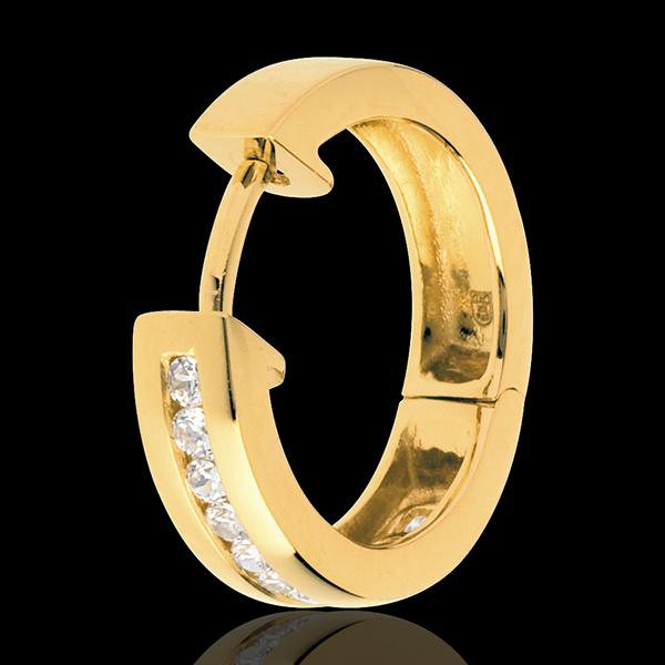Creole din aur galben de 18K cu diamante - setare bară - 0.24 carate - 22 de diamante