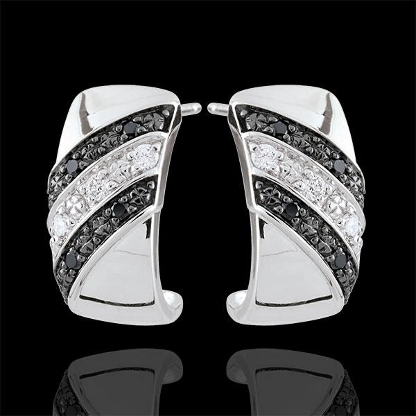 Creole earrings Clair Obscure - Twilight - black diamonds - 9 carat