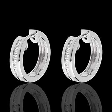 Creolen Wit Goud Diamant - rails - 0.24 karaat - 22 Diamanten