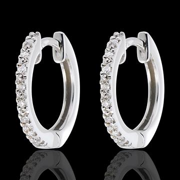 Créoles Or Blanc semi pavées - 16 diamants - or blanc 18 carats