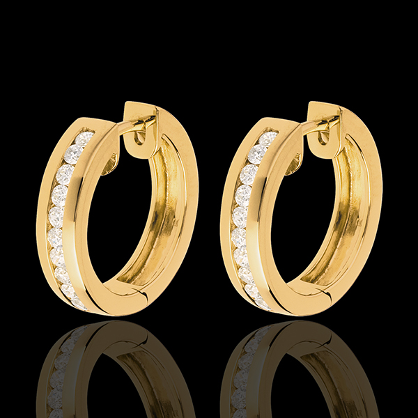 Créoles or jaune 18 carats diamants - serti rail - 0.33 carats - 22 diamants