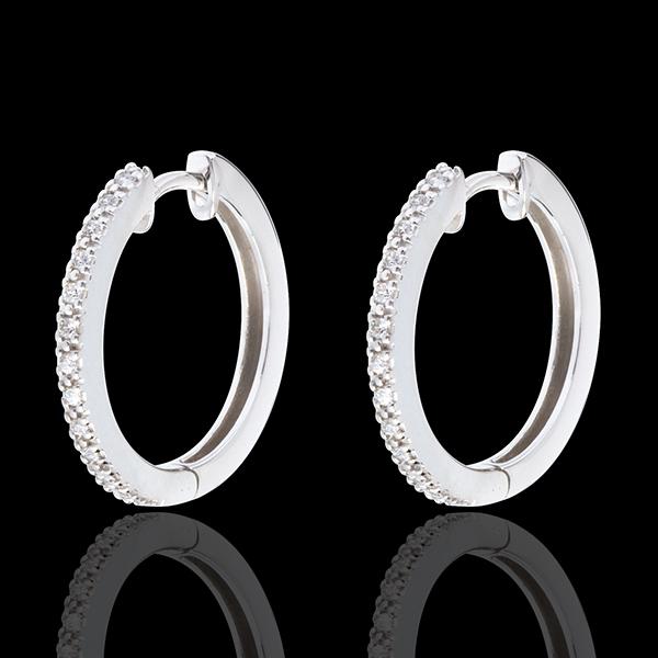 Créoles semi pavées or blanc 18 carats - 26 diamants