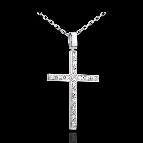 Cross pendant white gold paved