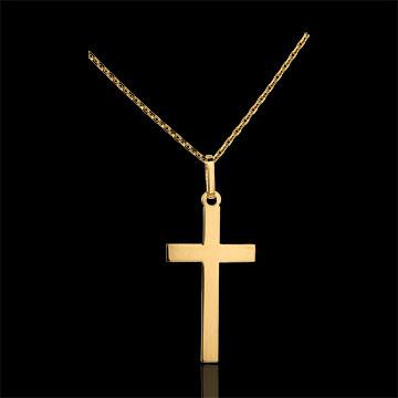 Cruce plată - aur galben de 18K