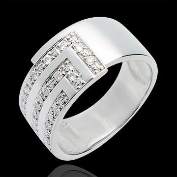 Cubic diamond paved ring white - 17diamonds