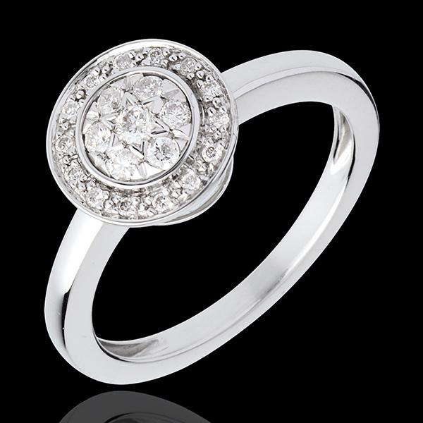 Destiny Button ring - white gold diamond paved