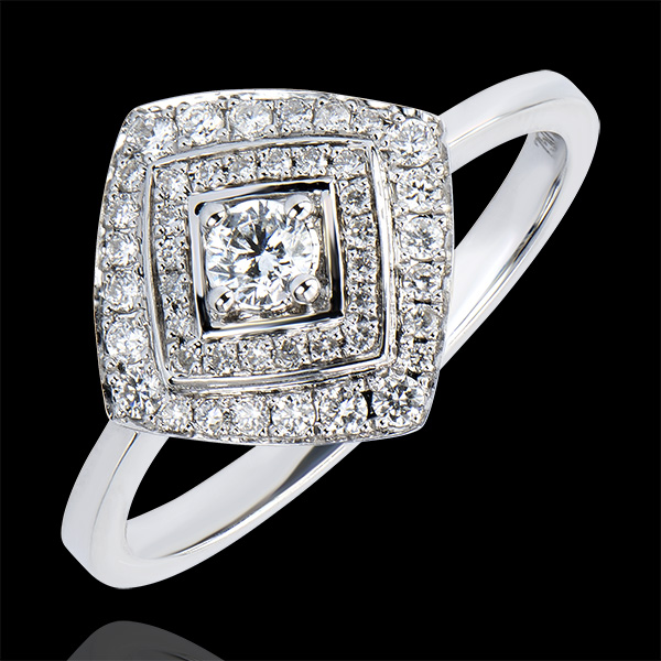 Destiny Engagement Ring - Double Geometric Halo - white gold 18 carats and diamonds