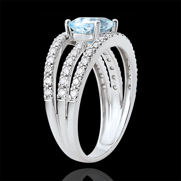 Destiny Engagement Ring - Duchess variation - 1.5 carat topaz and diamonds - white gold 18 carats