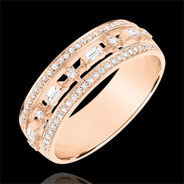 Destiny Ring - Little Empress - 71 diamonds - pink gold 9 carats
