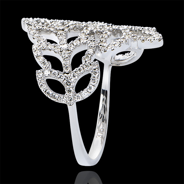 Destiny Ring - Willow leaves - white gold 9 carats and diamonds