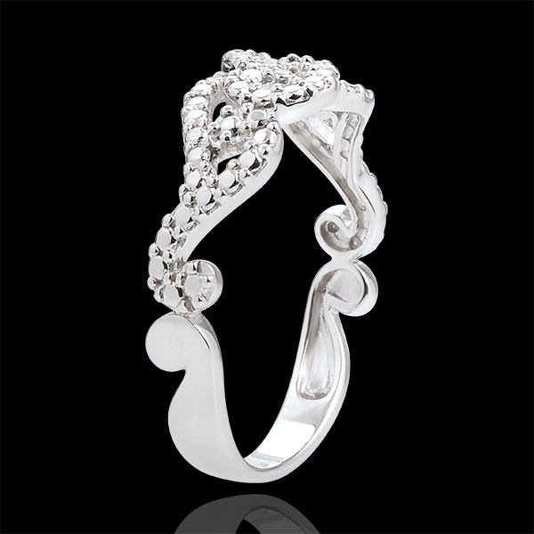 Destiny White Gold Diamond Ring with Entwined Arabesques