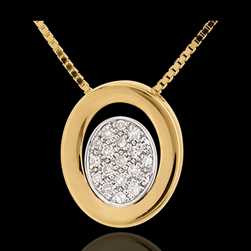 Diamant Collier Medaillon in Gelbgold - 19 Diamanten