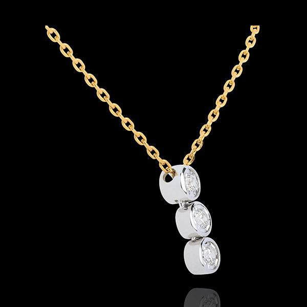 Diamant Collier Trilogie Sternschnuppe in Weiss- und Gelbgold - 3 Diamanten