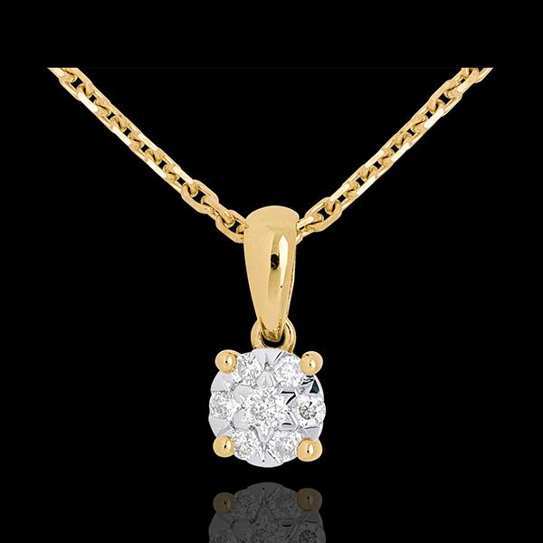 Diamond drop pendant yellow gold - 7 diamonds