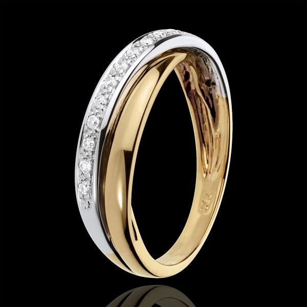 Diamond Saturn Ring - White and Yellow gold - 9 carat