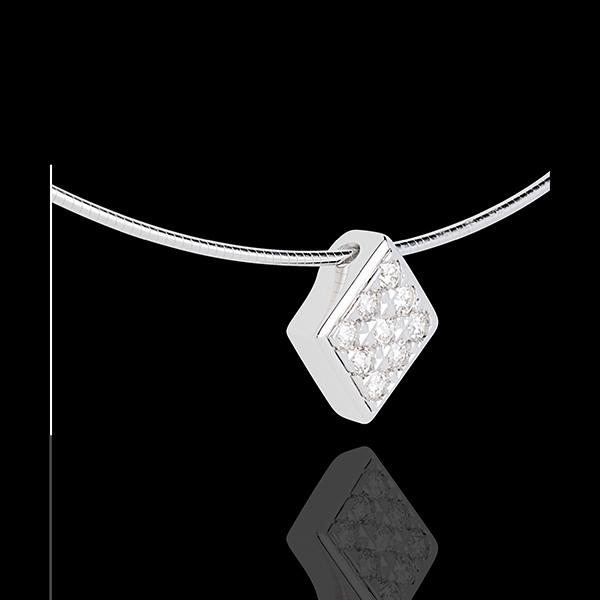 Diamond-shaped necklace white gold paved - 0.23 carat - 9 diamonds
