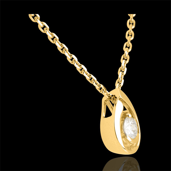Diamond teardrop pendant-yellow gold - 0.21 carat