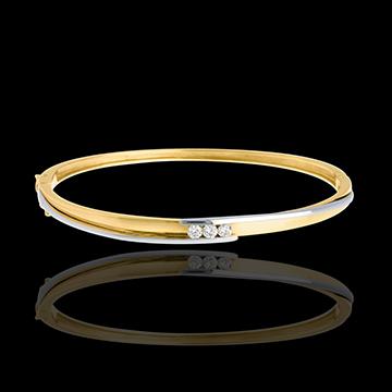 Diamond trilogy bangle/bracelet yellow gold-white gold - 0.24 carat - 3 diamonds
