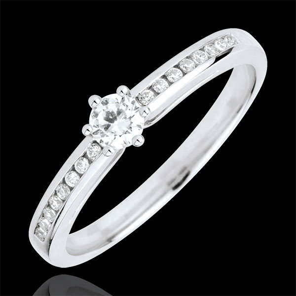 Divine Solitaire Ring - 6 prongs - central diamond: 0.165 carat
