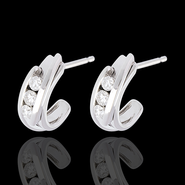 Double arch trilogy earrings-white gold - 0.3 carat - 6 diamonds