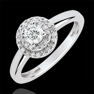 Double Halo Destiny Engagement Ring - 0.25 carat diamond - white gold 18 carats