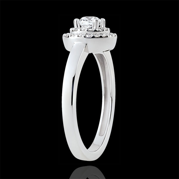 Double Halo Engagement Ring - 0.25 carat diamond - white gold 18 carats