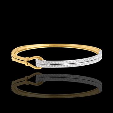 Double jonc Agrafe pavé - 54 diamants 0.32 carats - or blanc et or jaune 18 carats