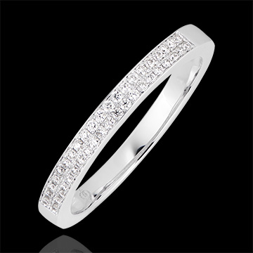 Double River Ring - 9K White Gold and Diamonds