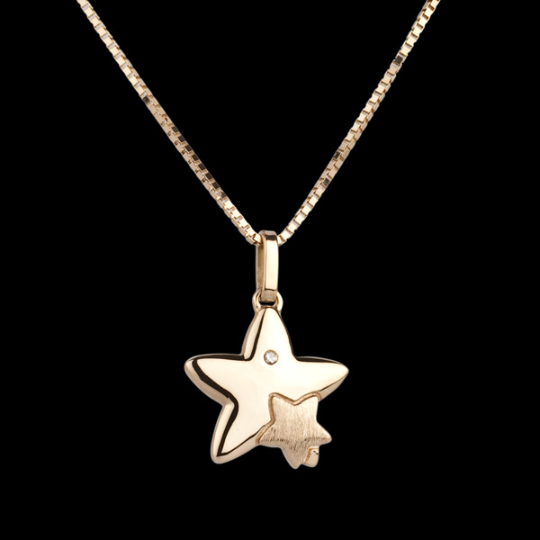 Duetto di stelle - modello grande - Oro giallo - 18 carati - Diamante