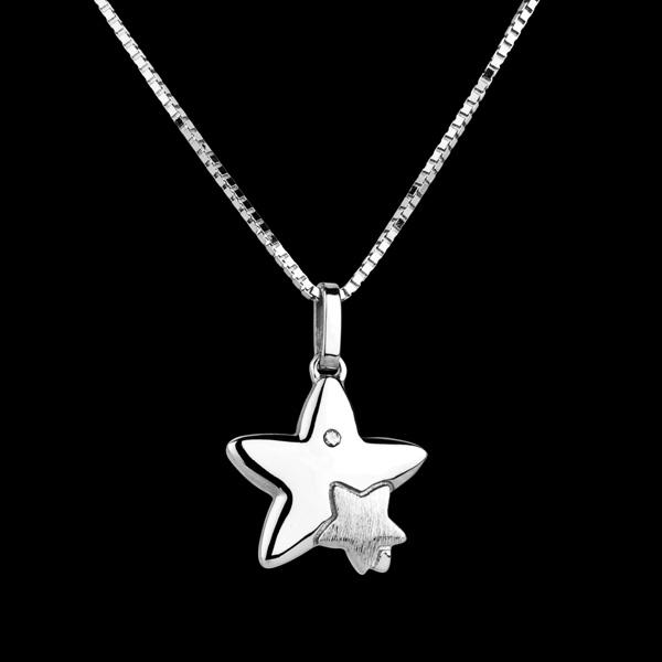 Duetto stelle - modello grande - Oro bianco - 9 carati - Diamante