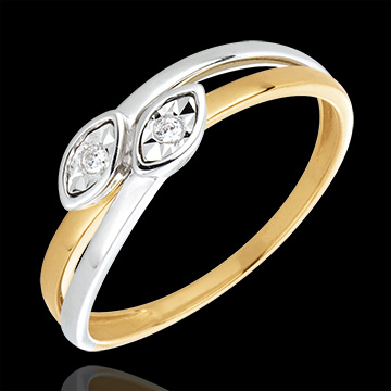Duo serpents ring - 2 Golds - Diamonds